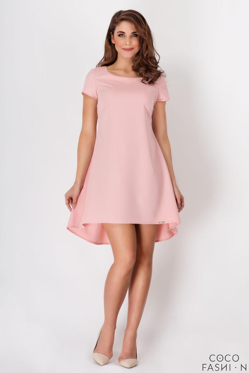 880669f165 Różowa Sukienka Asymetryczna Trapezowa