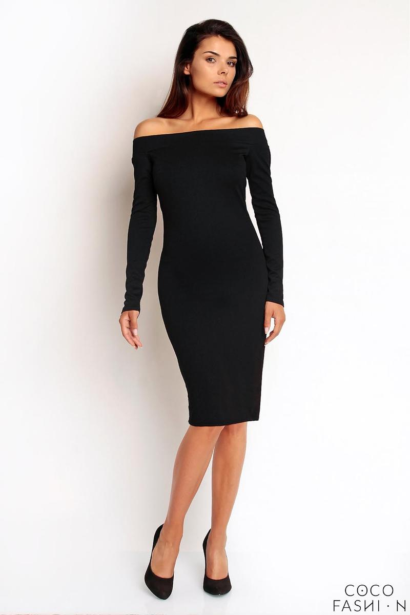 c79a06afb6 Czarna Dopasowana Sukienka z Dekoltem Opadającym na Ramiona
