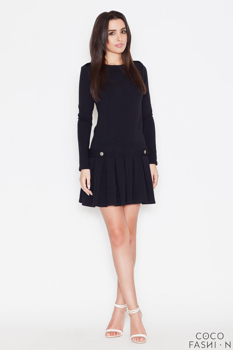 Czarna Sukienka z Długim Rękawem i Plisowanym Dołem