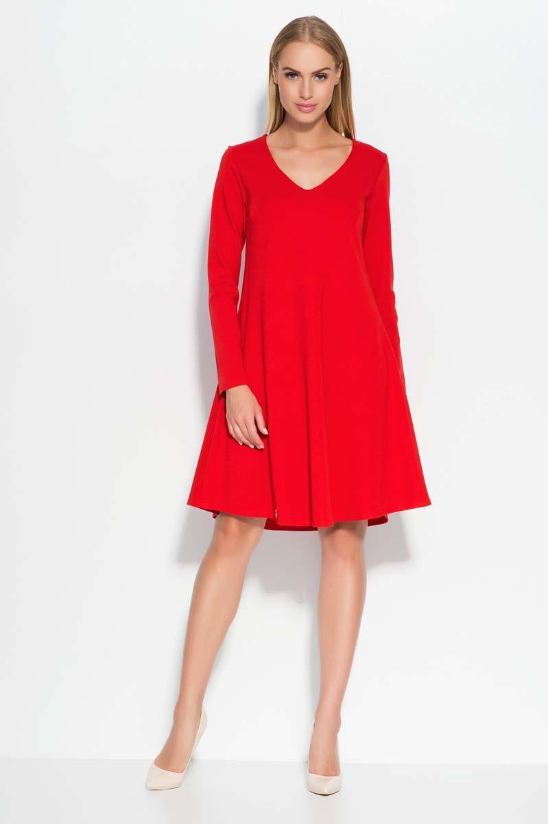d646e569e2 Czerwona Sukienka Trapezowa z Dekoltem