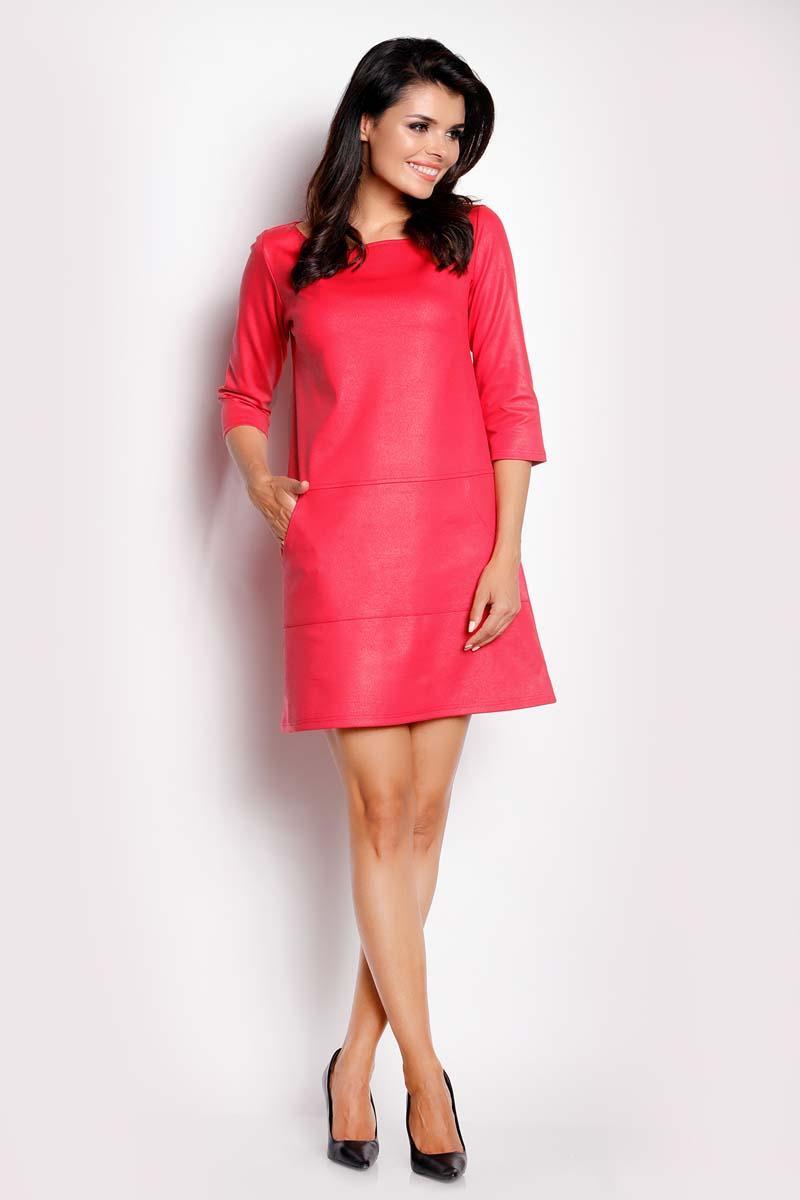 3dbd0cd1be Różowa Sukienka Trapezowa z Eco-Skóry
