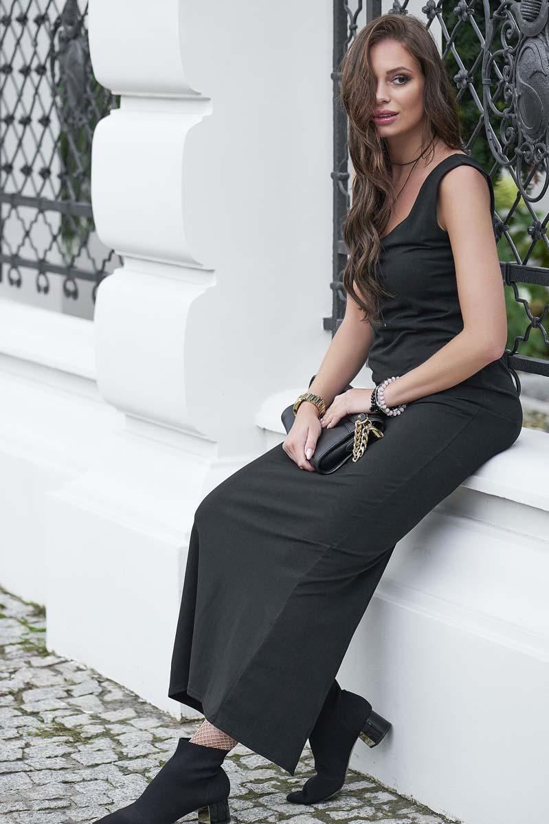ec83b3e6aa Czarna Dzianinowa Sukienka Tuba w Długości Maxi
