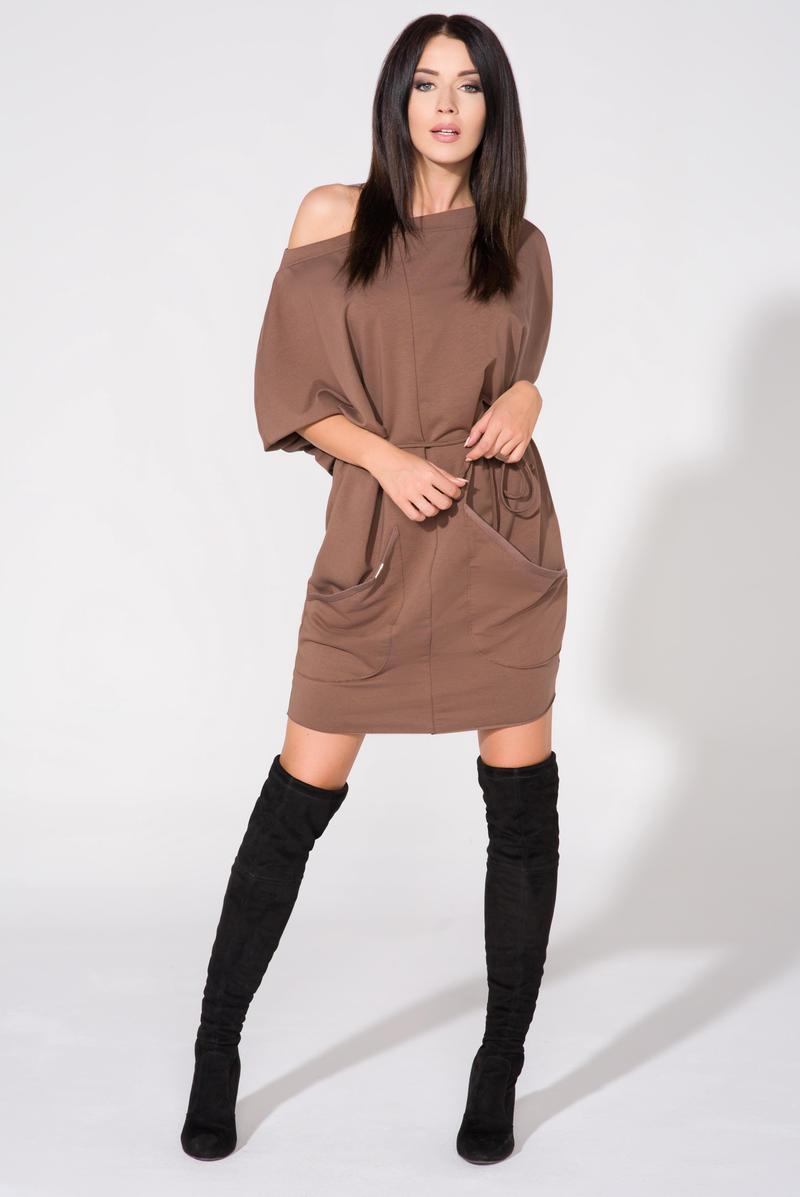 50b526f5af Brązowa Sukienka Dzianinowa z Nakładanymi Kieszeniami