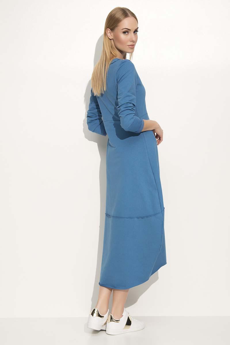 fa4344e230 Jeansowa Sukienka Asymetryczna Bombka Midi z Długim Rękawem