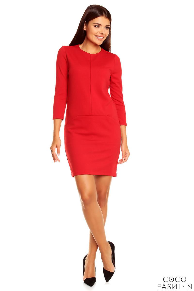 Skromna Czerwona Sukienka z Kieszeniami i Rękawem 34