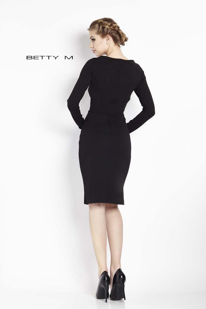 9613d20b5c Mała Czarna Dopasowana Sukienka z Długim Rękawem