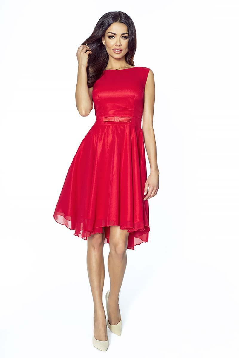 6340e746a2 Czerwona Szyfonowa Sukienka Asymetryczna z Kokardą
