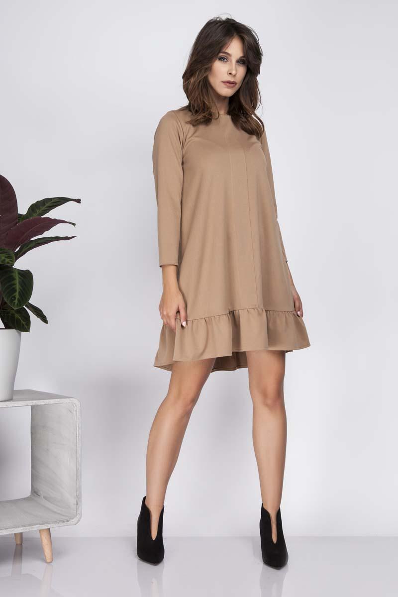 f3c8e237b5 Karmelowa Trapezowa Sukienka z Falbanką