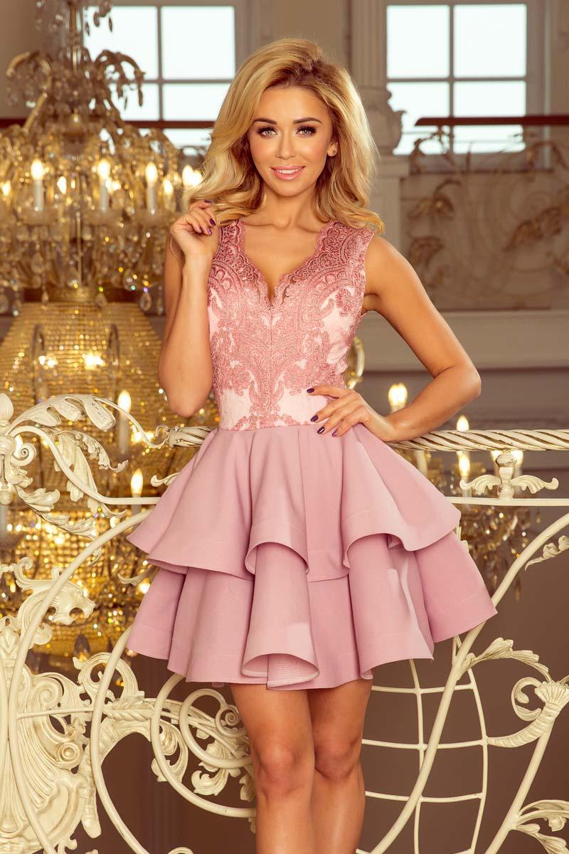 28d658df6c0c52 Różowa Rozkloszowana Imprezowa Sukienka z Koronką