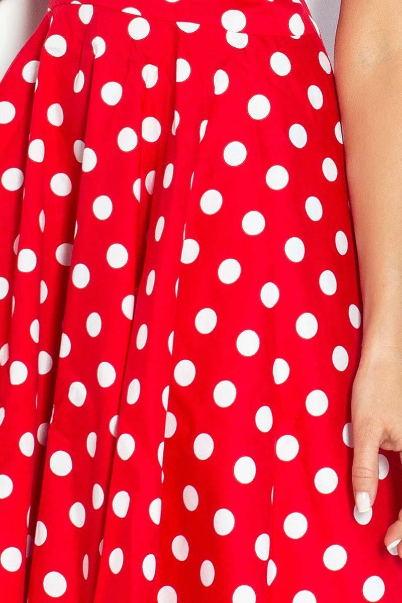 ffd8ff30 Czerwona Sukienka w Białe Grochy Wiązana z Tyłu Pin-up