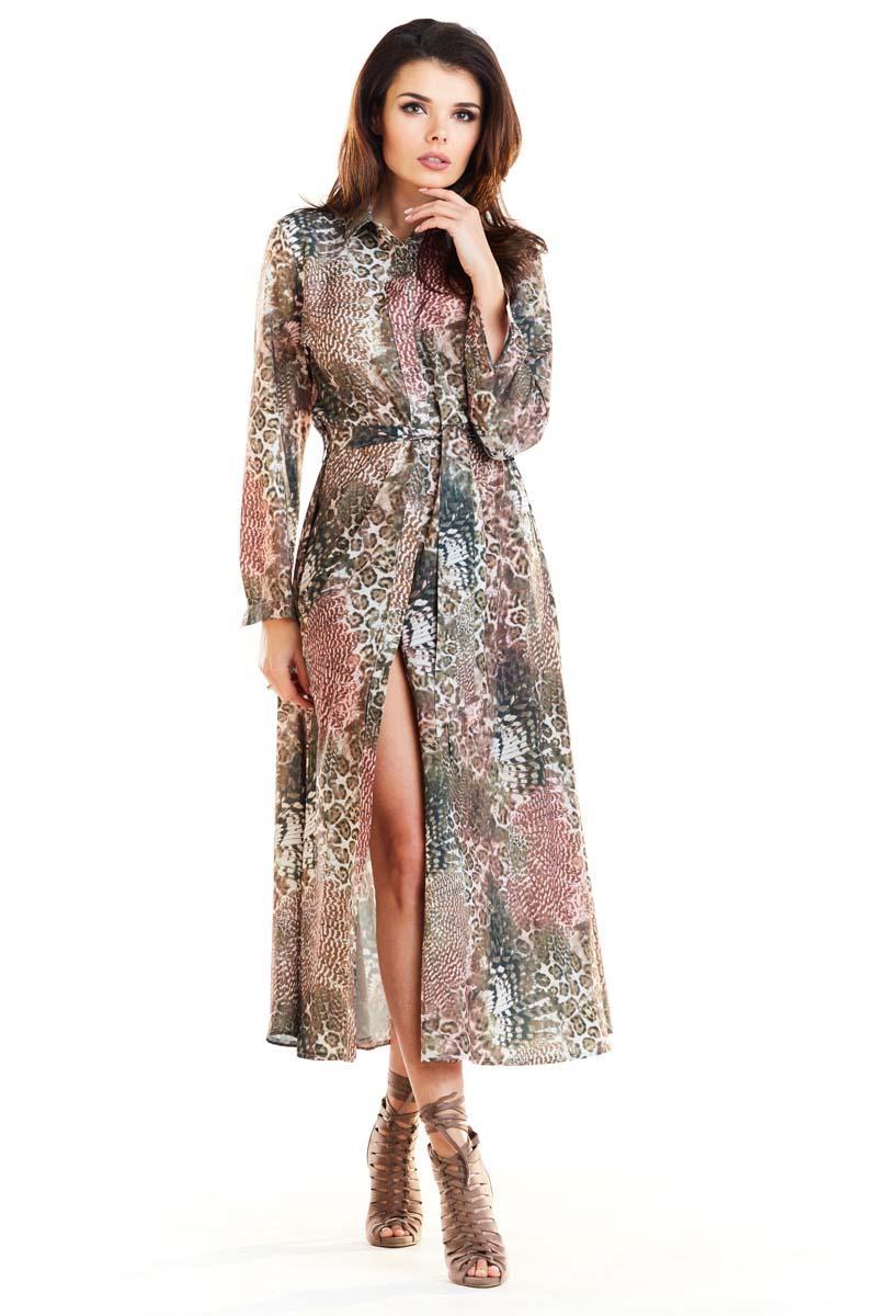 81f8785335 Brązowa Długa Sukienka Koszulowa w Cętki