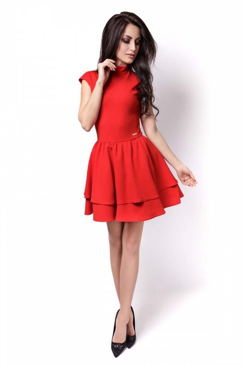 21bc7236f3 Czerwona Sukienka Mini z Falbankami Wycięta na Plecach