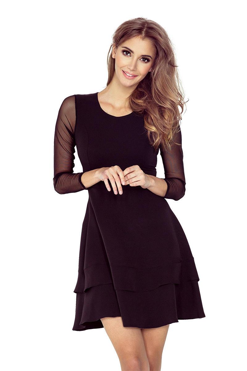 87398dfe32 Czarna Sukienka Wizytowa Rozkloszowana z Transparentnymi Rękawami