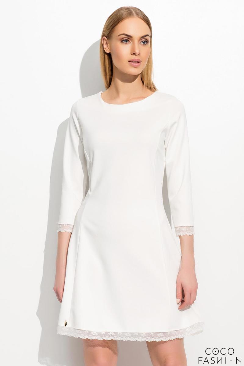 135a0f9a3c Ecru Trapezowa Sukienka w Stylu Retro z Koronką