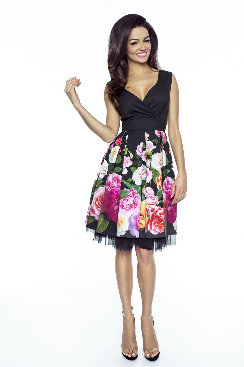 c792846efd Czarna Elegancka Sukienka Koktajlowa w Kwiaty z Tiulem