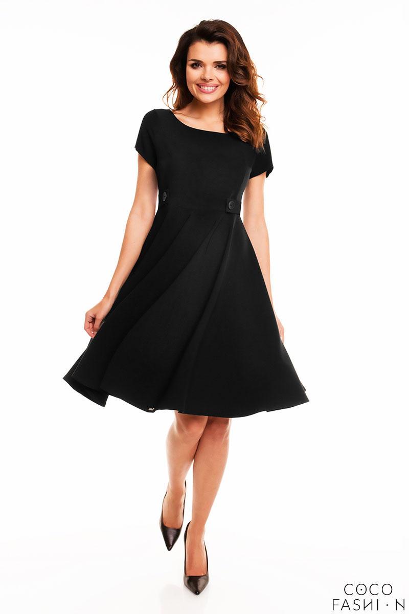 4b743a996f Czarna Sukienka z Krótkim Rękawem
