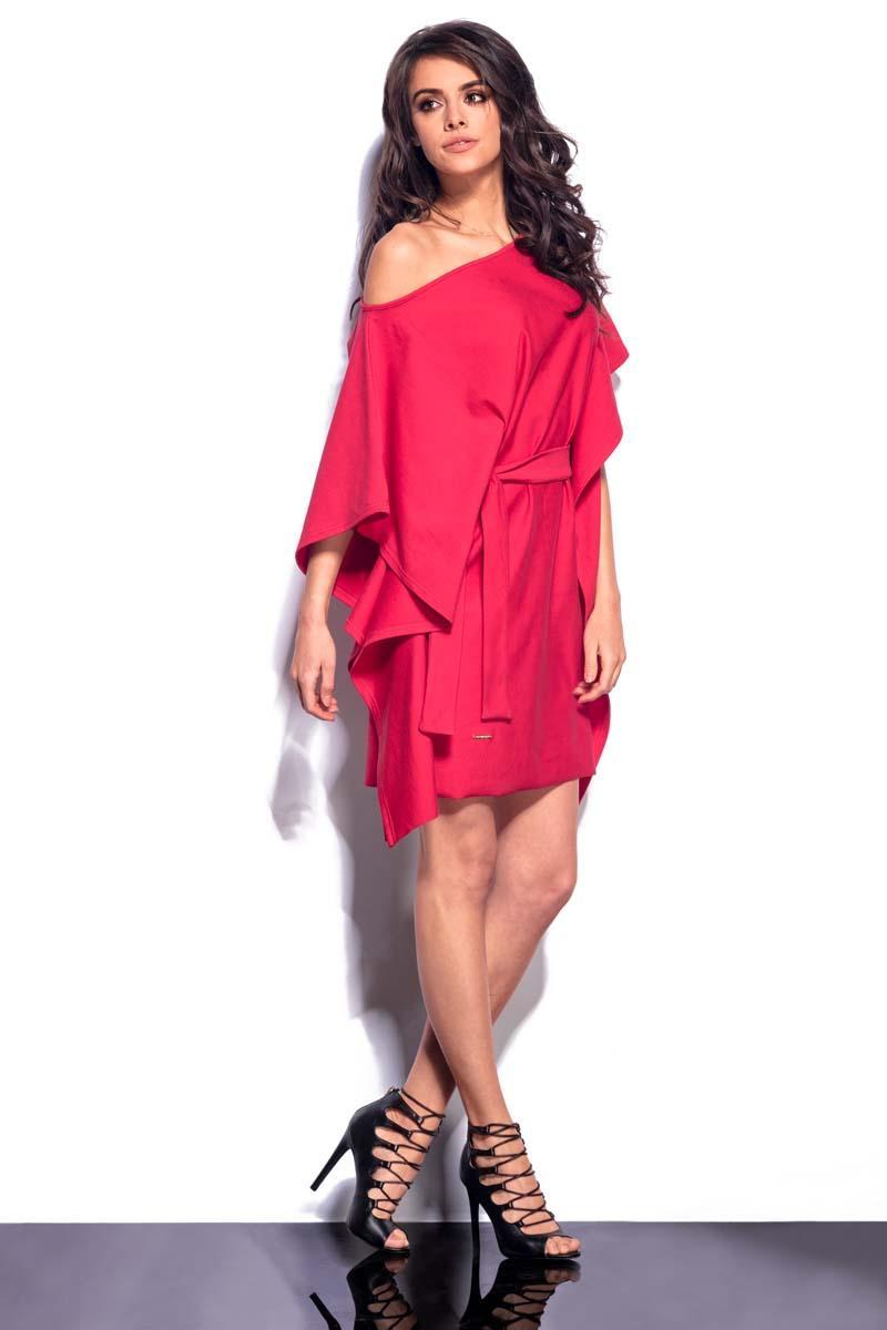 be0dbe2c34 Czerwona Sukienka Kimono z Wiązanym Paskiem