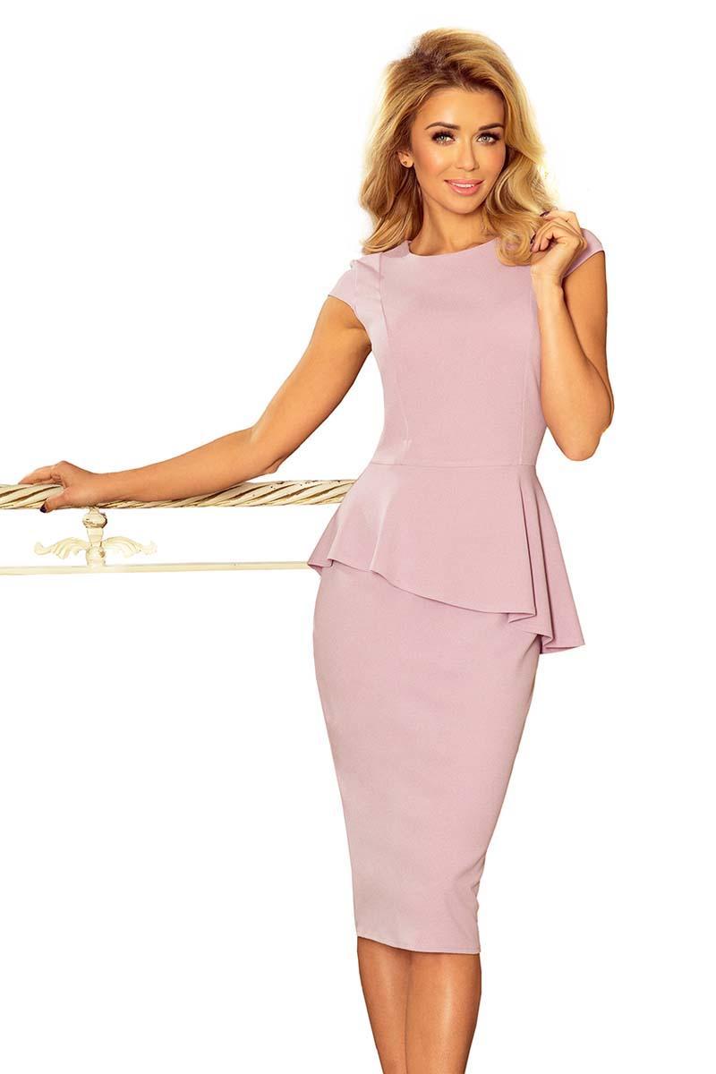 9329ce0d7a Różowa Elegancka Ołówkowa Sukienka Midi z Asymetryczną Baskinką