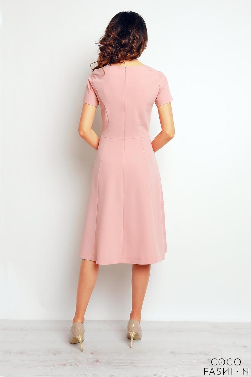 90f1756813 Różowa Midi Sukienka Wizytowa z Krótkim Rękawem