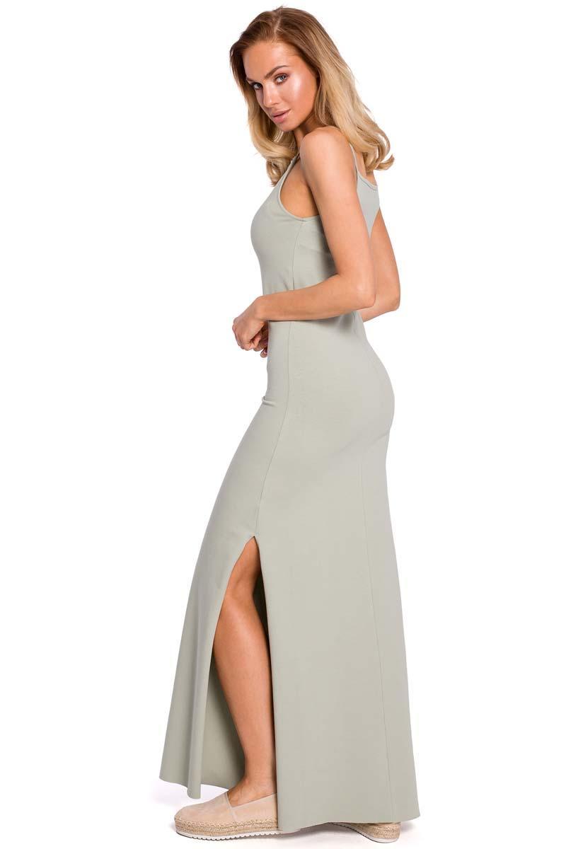 1345af907d Pistacjowa Maxi Dresowa Sukienka na Wąskich Ramiączkach
