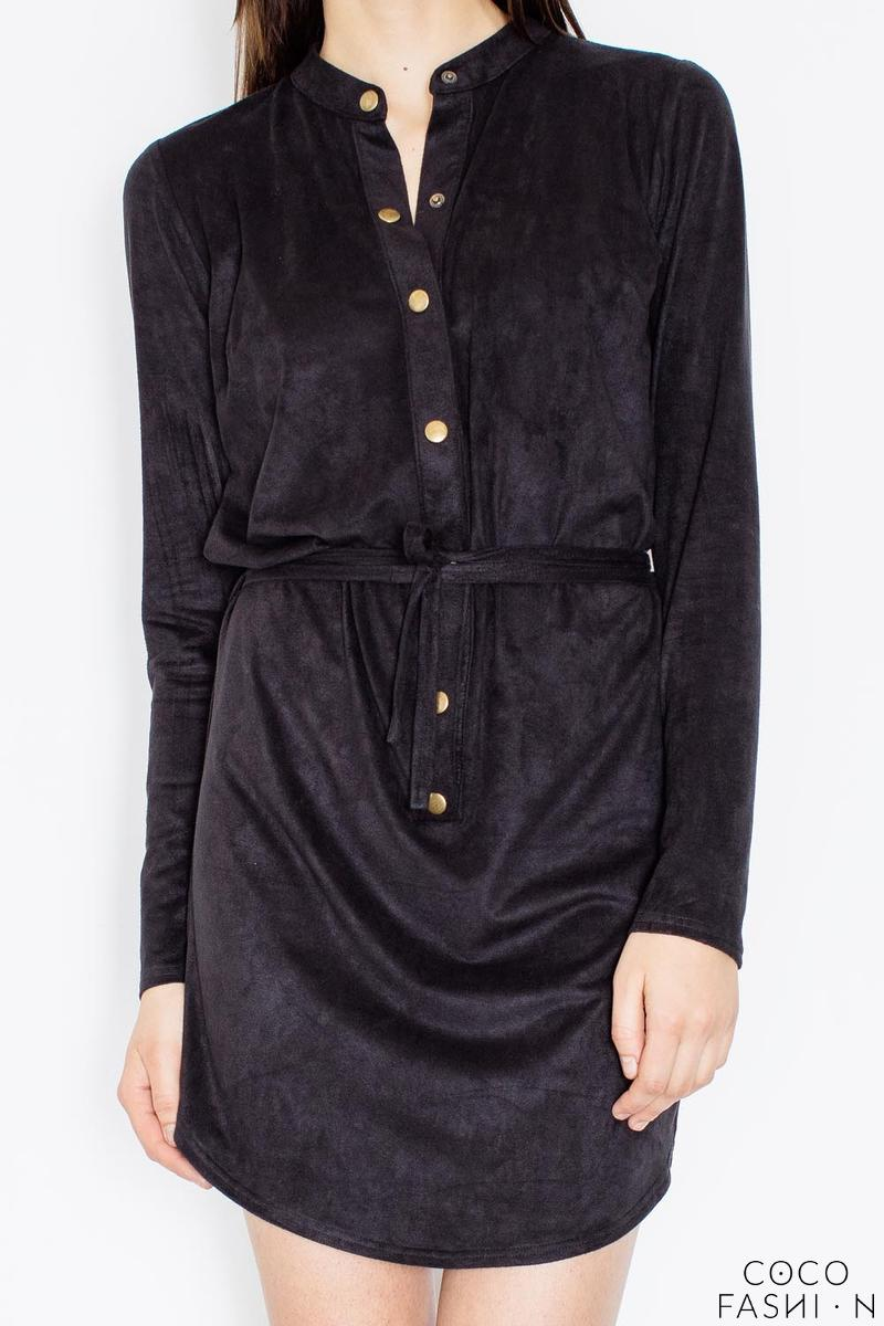 a5e0b0ff76 Czarna Koszulowa Sukienka Zapinana na Zatrzaski