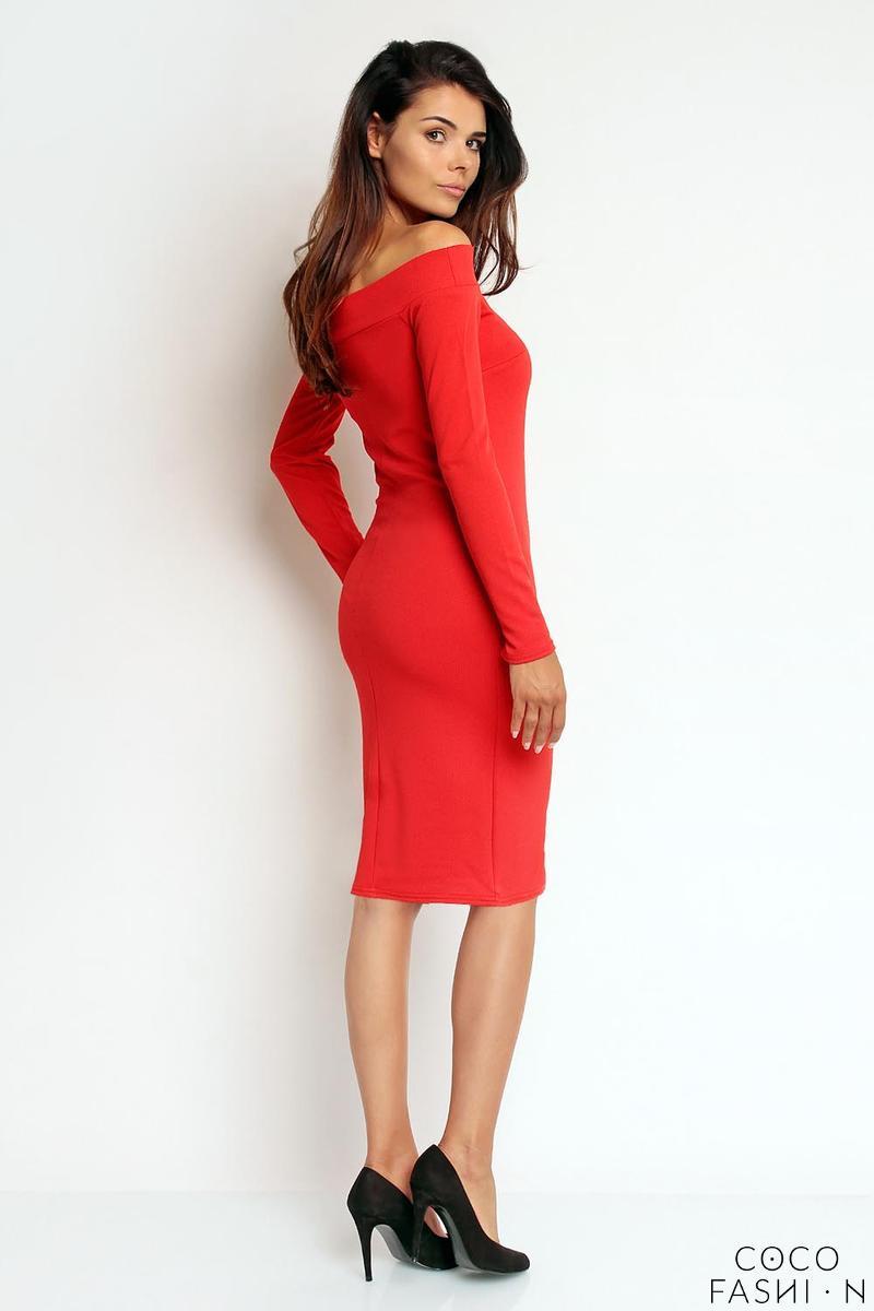 7f60c9da89 Czerwona Dopasowana Sukienka z Dekoltem Opadającym na Ramiona