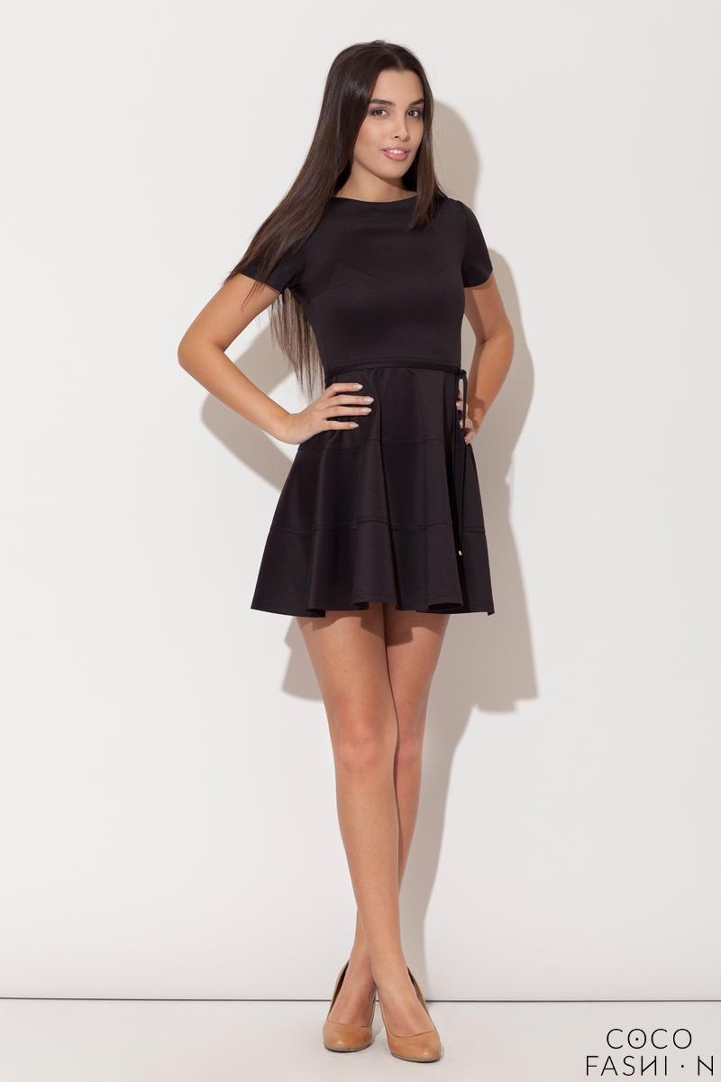 c9a517489b Czarna Rozkloszowana Sukienka z Krótkim Rękawem