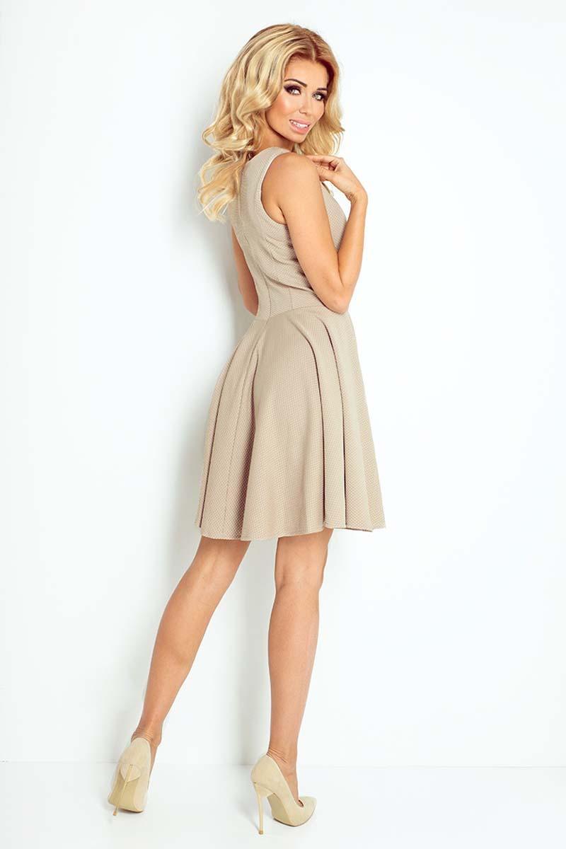 7ef843831a Beżowa Sukienka Koktajlowa z Rozkloszowanym Dołem