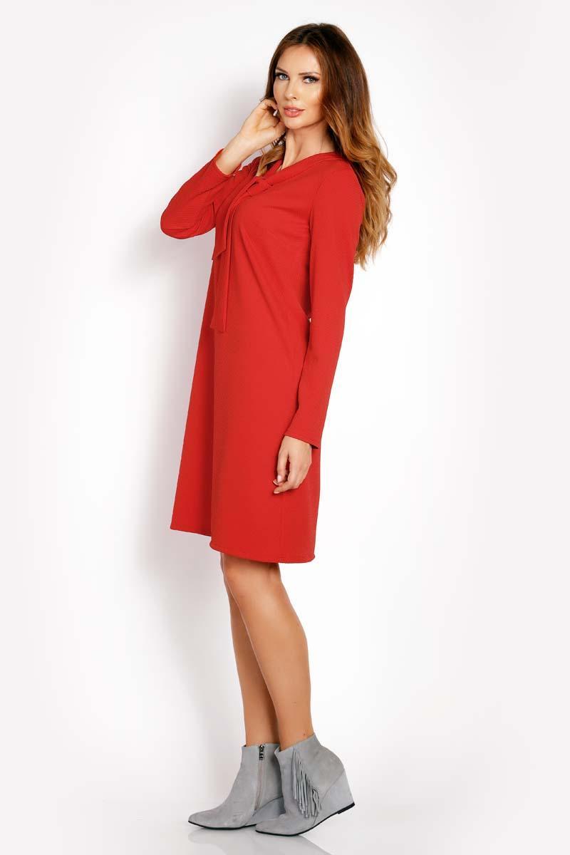 8da36d3959 Czerwona Sukienka Trapezowa z Krawatką