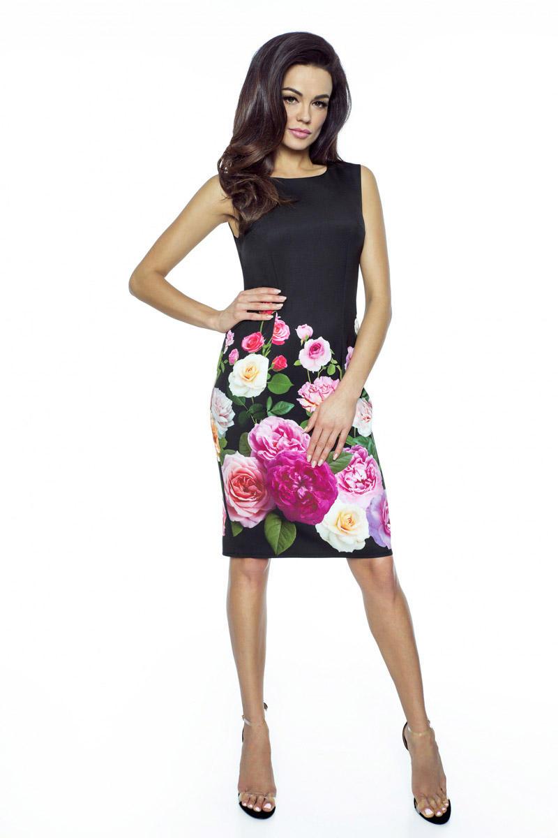 f1ceefc10b Czarna Sukienka Ołówkowa w Kwiaty