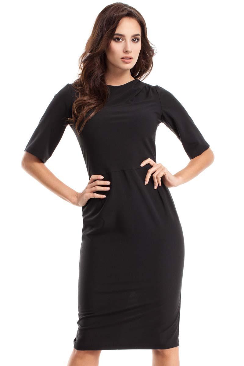a7f24de144 Czarna Sukienka Ołówkowa z Rękawem do Łokcia