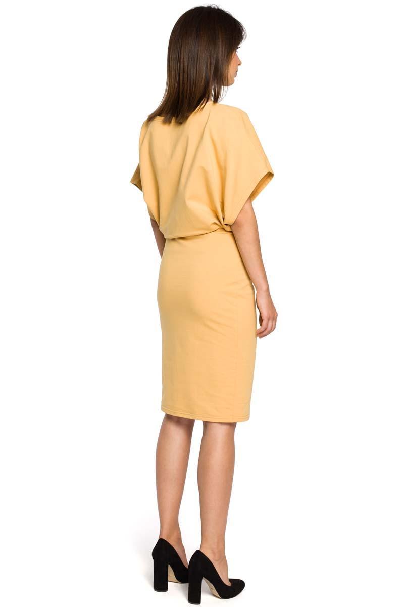 94856c961c Żółta Sukienka Przewiązana Paskiem z Nietoperzowym Krótkim Rękawem