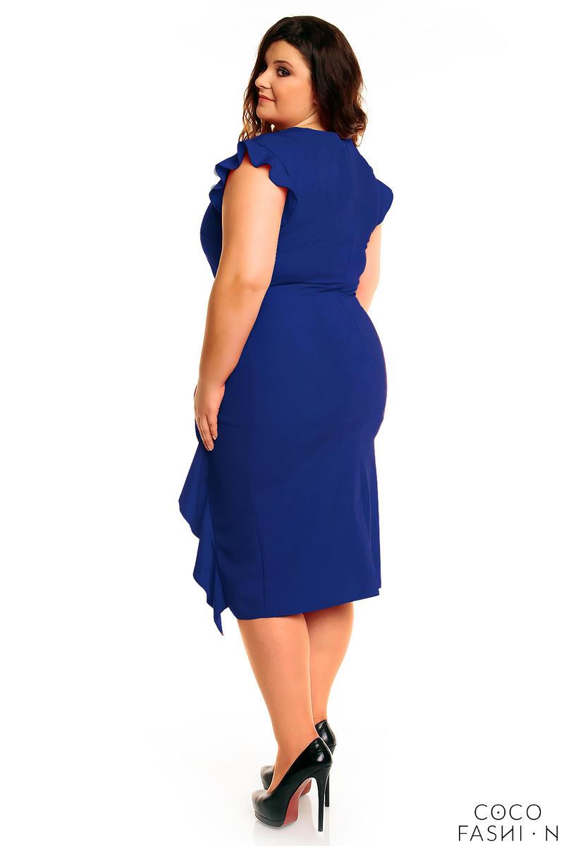 ddb2b2529e Niebieska Elegancka Sukienka z Falbanką PLUS SIZE