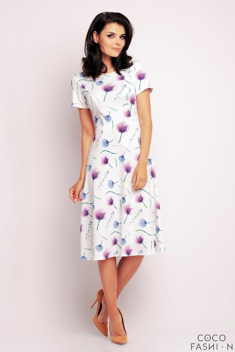 a5d3a5a14f Fioletowo-Biała Rozkloszowana Sukienka z Krótkim Rękawem
