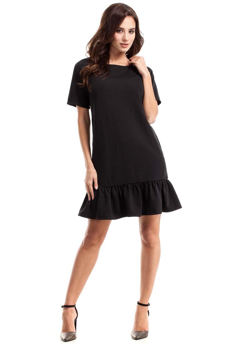 09e8f2be4e Czarna Sukienka Trapezowa Zakończona Falbanką