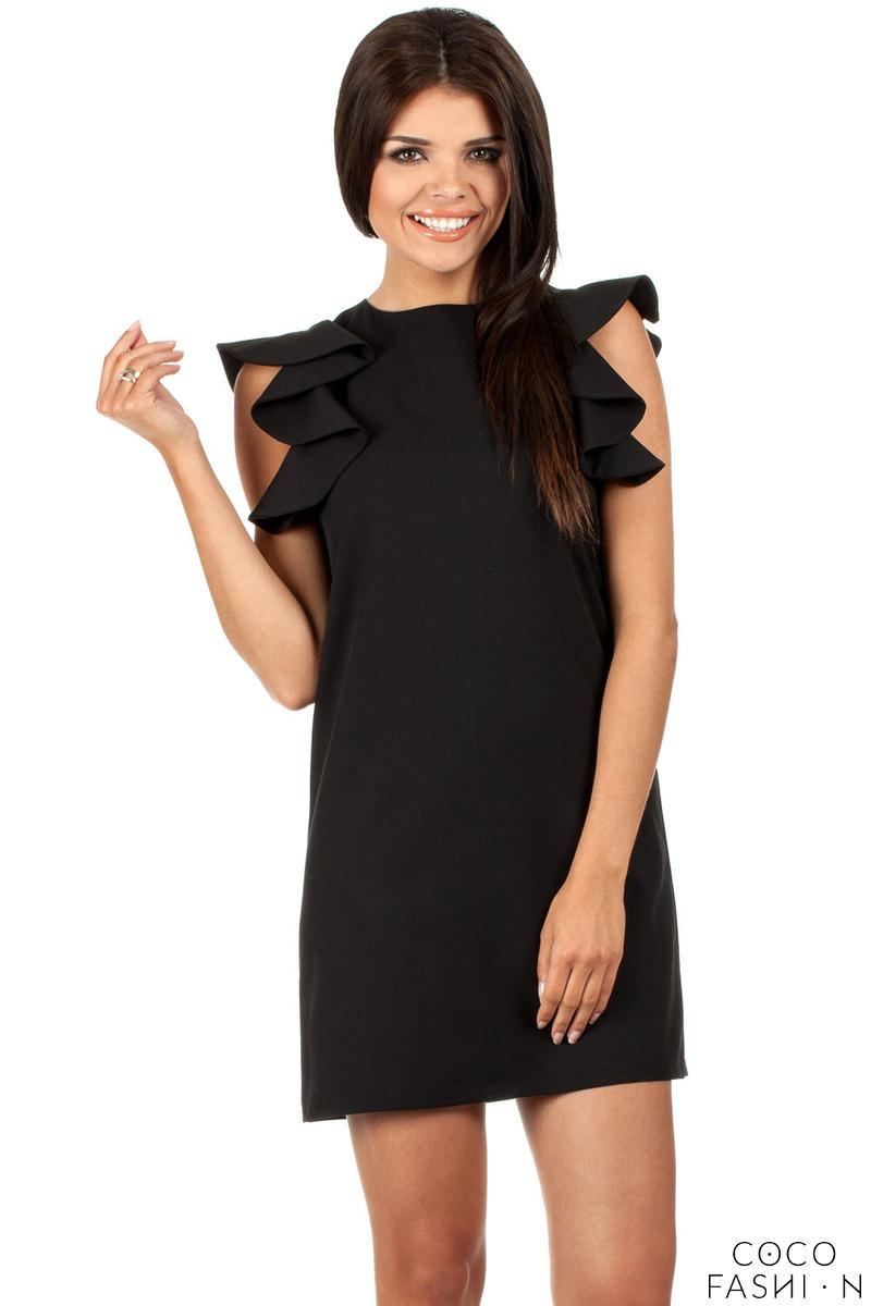 f45dc886a2 Czarna Mini Sukienka Tuba z Falbankami na Ramionach