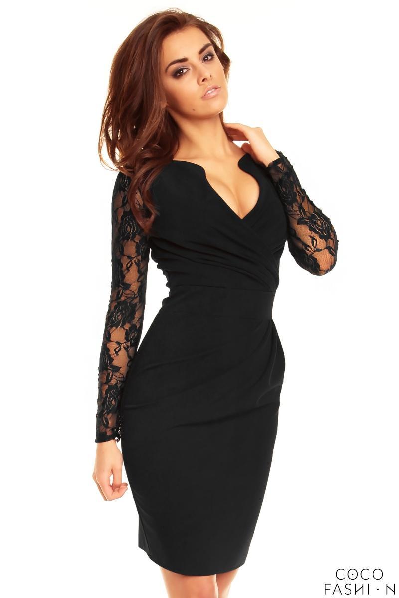 7966e942ff Czarna Elegancka Sukienka z Koronkowym Rękawem