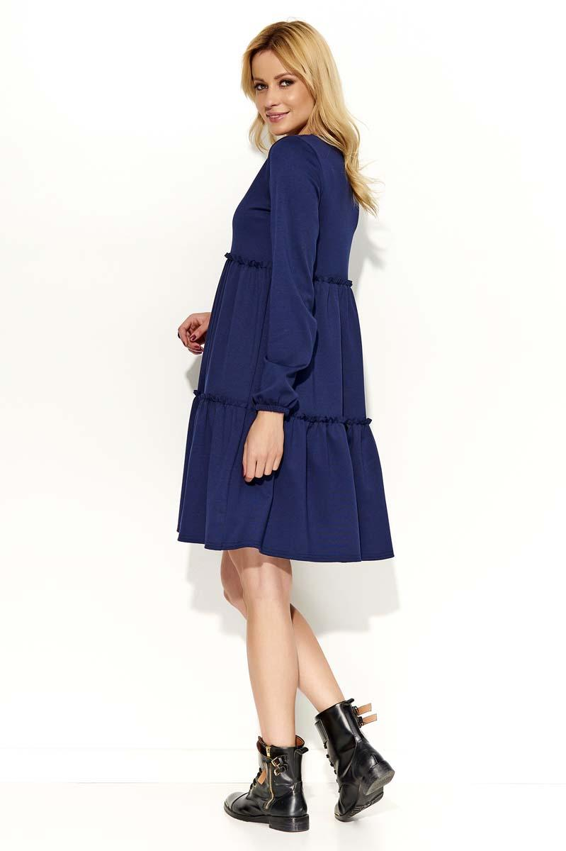 2b5107de Granatowa Sukienka Oversize z Falbankami
