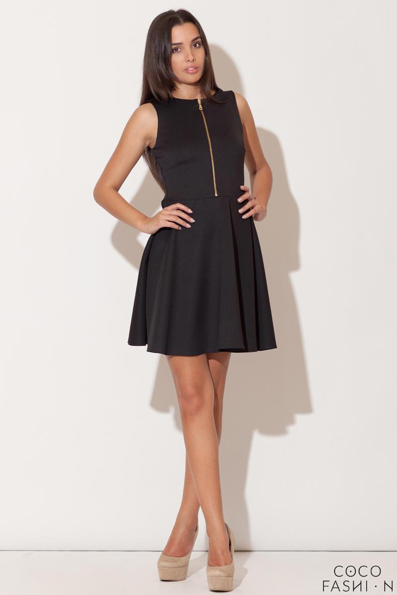 c04202d7db5 Czarna Rozkloszowana Sukienka z Ozdobnym Suwakiem