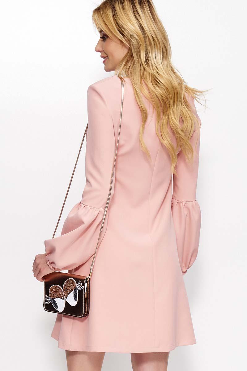 e3c7f97660 Różowa Sukienka Trapezowa z Szerokim Rękawem