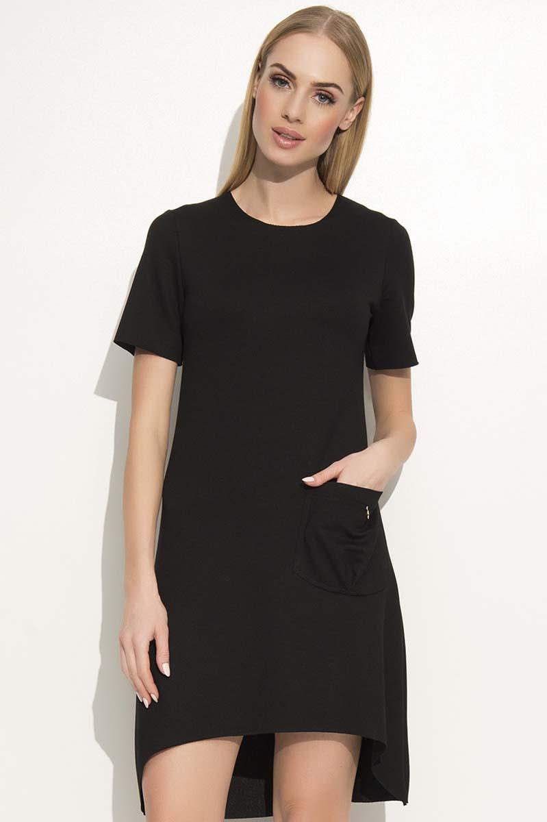 300016190e Czarna Sportowa Sukienka z Wydłużonym Tyłem