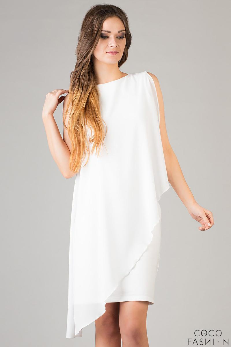 Biała Sukienka z Woalką Asymetryczna Lekka Kreacja