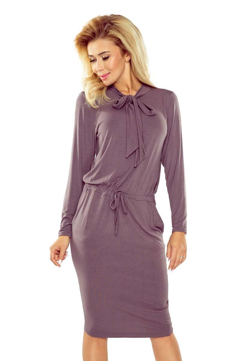 Bardzo dobra Beżowa Sukienka z Kokardą pod Szyją TA87