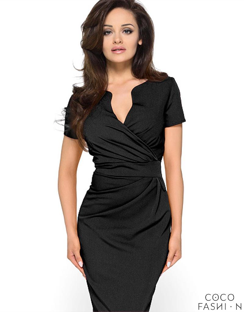 f6fd9e4396 Czarna Elegancka Sukienka z Założeniem Kopertowym